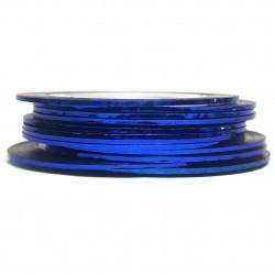 Нить для ногтей самоклеющаяся в рулоне 0,8 мм, синий голографический