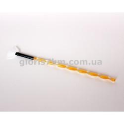 кисть д/косметолога веерная белый ворс пластик ручка витая 13см