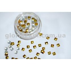 Металлические фигурки для дизайна золото - квадрат уп.100шт