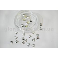 Металлические фигурки для дизайна серебро - треугольник маленький уп.100шт